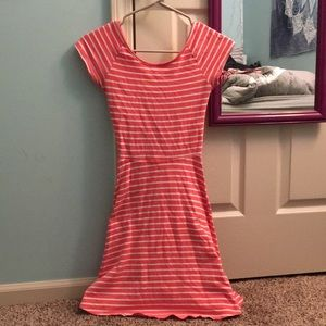 A coral and white striped dress with an open back!